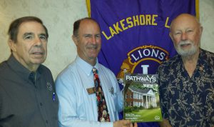 Lakeshore Lion's Club members Jerry Garbo (left), and Gordon Barney (right) with MCH Development Officer for SE LA, Doug Hall.